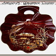 SALE Rare Antique French Papier Mache Crumb Tray, Chateau Theme