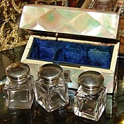 SOLD Antique Victorian Mother of Pearl Triple Scent, Perfume Box