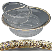 SALE Antique French Sterling Silver & Cut Glass Caviar Serving Dish, 2pc