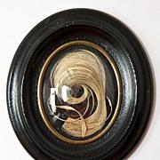 SALE Antique Napoleon III Hair Art Mourning Memento, Ebony Frame