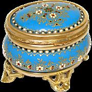 """SALE Fab Antique French Jewelry Casket, """"Jeweled"""" Tahan Enamel & Gilt Ormolu"""