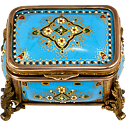 SALE Antique French TAHAN Kiln-Fired Enamel Blue Jeweled Jewelry Box, Casket
