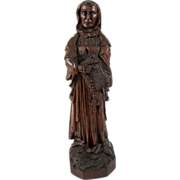 SALE Antique Carved Saint, Wood Figure From a 16th-18th c. Altarpiece, Northern European Art .
