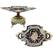 SOLD Antique French Champleve Enamel Tazza, Miniature for Doll Table? Vide Poche