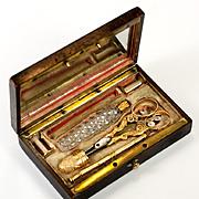 Antique French Palias Royal 18k Gold Sewing Set, Etui, Thimble & Scissors, Scent Bottle, Silk Winders & Pencil