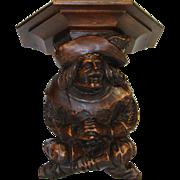 "SOLD Fine Antique Black Forest Style Carved Cavalier Figural 11"" Wall or Bracket Shelf, P"