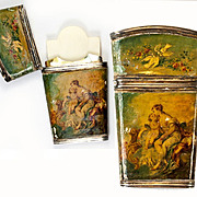SALE Antique French Sterling Silver & Vernis Martin Painting Necessaire, Note Card or Danc