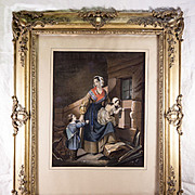 SALE Antique French Frame and Superb Louis Philippe Era Chromo Print with Hand Painting, c. 18