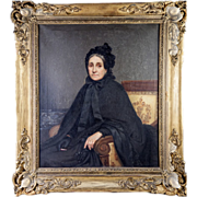 SALE Antique French Portrait in Oil on Canvas, Original Frame, Interior with Beautiful Matron,