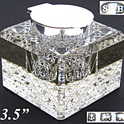 "SALE HUGE Antique English Sterling Silver & Cut Crystal 3.5"" Inkwell, Facet Cut Base"