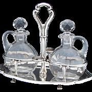 "SALE Lovely Vintage Italian Hallmarked 800 (nearly sterling) Silver 9"" Oil & Vinegar"