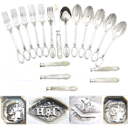 SALE Elegant Antique French Sterling Silver 18pc Flatware Set, 3pc Luncheon or Dessert for SIX