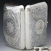 SALE Antique Russian Sterling Silver Cigar Case, 6+oz, Itska Lozinski, Moscow Silversmith, Por