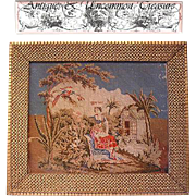 SALE Superb 19th C. Figural Needlepoint Tapestry, Gilt Gesso & Wood Frame