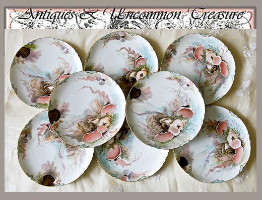 Set 8 RARE HP Haviland, Limoges Plates, Sea Life