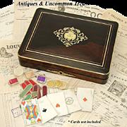 "SALE Antique Napoleon III 12"" Rosewood Game Box, Elegant Inlays"