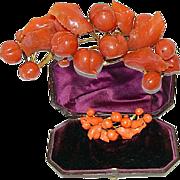 SALE Antique Empire/Georgian Red Coral Tiara, Necklace 18k Gold