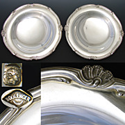 "SALE PAIR: 2 Antique French Sterling Silver 8.5"" Plateau, Raised Compote or Tazza Serving"