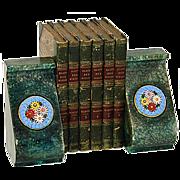 SALE Fine Vintage Italian Bookend Pair, Floral Micro Mosaic Medallions