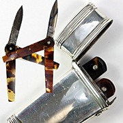 SALE Antique Georgian Ultra-thin English Sterling Silver Etui, 2 Tortoise Shell Lancets - ...