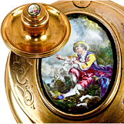 SALE Antique French Ornate Dore Brass Inkwell Stand, Desk Tray, Kiln-fired Enamel Portrait