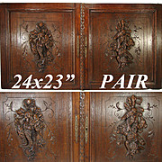 "SALE LG Antique Victorian Era 24"" x 23"" Black Forest Carved Oak Cabinet or Furniture"