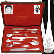 SALE Rare Complete 8pc Antique French ODIOT Sterling Silver Flatware Set, Orig. Box