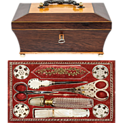 SOLD Antique French Palais Royal Sewing Box, Mother of Pearl Scissors, Needle Case, Etc., Etc