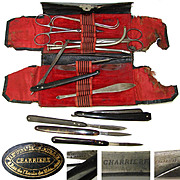 Rare Antique French Surgical Kit or Etui with a Host of Tools: Charriere c. mid 1800s