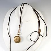 "SALE RARE 40"" Long Georgian to Victorian Woven Hair Watch Chain, 18k Gold Slide, Beads, 1"