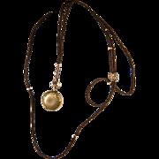 "SALE RARE 40"" Long Georgian to Victorian Woven Hair Watch Chain, 18k Gold Slide, Beads .."