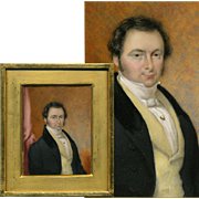 SOLD Antique French Portrait Miniature, Painting, Wood Frame, ID'd as T. Constant DENIS, 1832