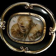 SALE Victorian 12K Mourning Brooch, Antique, Black Enamel & Blond Hair Art