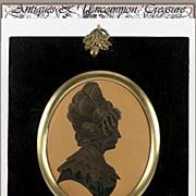 SOLD Antique Georgian Painted Portrait Silhouette, Acorn Frame - circa 1780-1810 Matron, super