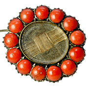 SALE Antique Georgian Victorian Mourning Brooch, Hair & Red Coral