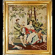 SALE Antique Victorian Needlepoint, Gilt Wood Frame, Dog
