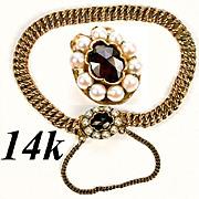 "SALE Vintage to Antique Child's 14K Gold 5.5"" Bracelet, Pearls and Facet-cut Garnet, Guar"
