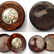 SOLD Antique French Table Snuff Box, Faux Tortoise Shell with Miniature Painting, 14k gold Rim