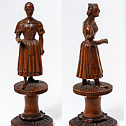 SALE Antique Hand Carved Black Forest Sewing Spool for Thread - Figural, a Lady