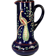 "SALE BIG Antique to Vintage 11"" Tall Bohemian Enamel Glass Decanter, Pitcher for Wine, Wa"