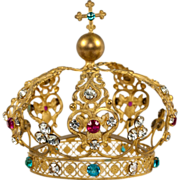 SOLD Antique French Crown, Tiara, Corone with Paste Jewels, Religious