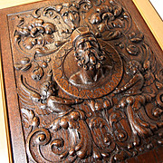 SALE Fabulous Antique Hand Carved Oak Panel in Frame, Figural Bas Relief Grotesques and Full R