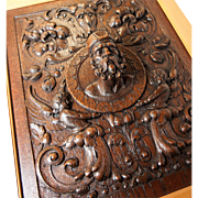 SALE Fabulous Antique Hand Carved Oak Panel in Frame, Figural Bas Relief Grotesques and Full .