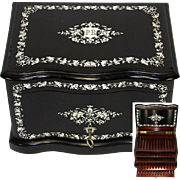 """SALE Rare Antique French 12"""" Tantalus Style Cigar Chest or Box, Ebony w/ Ornate Inlay ..."""
