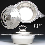 SALE Ornate Antique French Sterling Silver Ecuelle or Covered Serving Dish & Lid, Rococo w