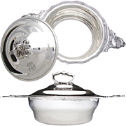 SALE Ornate Antique French Sterling Silver Ecuelle or Covered Serving Dish & Lid, Rococo .