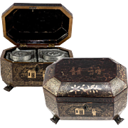 SALE Antique Asian Papier Mache Tea Caddy with Both Inserts, Chinoise or Japonaise in Gold ...
