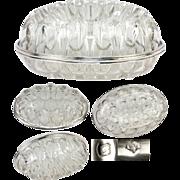 "SALE BIG 8"" x 5"" Antique French Pique Fleur (Flower Frog) in Blown Baccarat Crystal"
