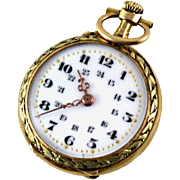 SALE Antique 18K Gold Pendant Pocket Watch, Enamel Face, Swiss
