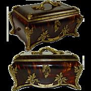 SALE Antique French Faux Tortoise Shell & Ormolu Jewelry Casket, HUGE size - Faux Tortoiseshel